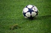Voetbal bal op groen gras — Stockfoto