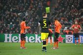Shakhtar footballers against Borussia Dortmund in Champions League — Stock Photo