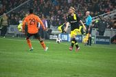 Alex Teixeira against Marcel Shmeltser in a match of the Champions League — Stock Photo