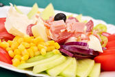 A mixed salad typical for the Balkan region — Stock Photo