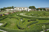 Boxwood decorations and flowers in Herrenhausen Gardens, Hanover — Stock Photo