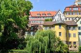 Street view of the Hoelderlin Tower in Tuebingen, Germany — Stock Photo