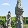 Statues on top of Grand Cascade in Herrenhausen Gardens — Stock Photo #30116227