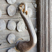 Medieval wooden door handle and bolts — Stock Photo