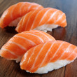 Stock Photo: Japanese food - salmon niguiri