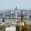 View of Hungarian parliament building with Danube river — Stock Photo