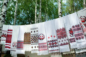 Ukrainian embroidery on towels — Stock Photo