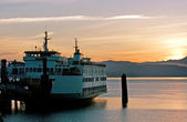 Ferry in sunrise — Stock Photo