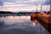 Sunset over harbor — Stock Photo