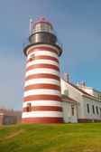 West Quoddy lighthouse on Atlantic coastline — Stock Photo