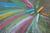 Crayons for drawing on the pavement — Stock Photo