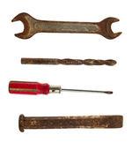 Raccolta di vecchi strumenti della chiave, cacciavite, scalpello e d — Foto Stock