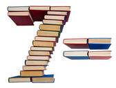 Alphabet made out of books, figures 7 and equals — Stock Photo
