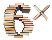 Alphabet made out of books, figures 6 and multiply — Stock Photo