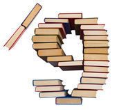Alphabet made out of books, figures 9 and slash — Foto Stock