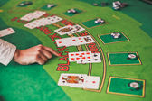 Black Jack casino table with croupier hand — Foto de Stock