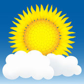 Sun and clouds. Vector illustration — Stock Vector