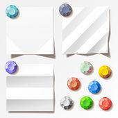 Blancas notas con imanes. ilustración vectorial — Vector de stock