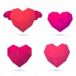 Polygonal hearts. Vector illustration — Stock Vector