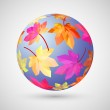 Sphere from autumn leaves. Vector illustration — Stock Vector