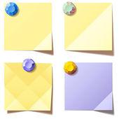 Notas de color amarillos y violetas. ilustración vectorial — Vector de stock