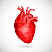 Low poly heart. Vector illustration — Stock Vector