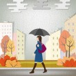 The woman under an umbrella in rainy day — Stock Vector