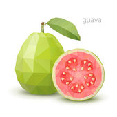 Polygonal fruit - guava. Vector illustration — Wektor stockowy
