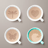 Polygonal cups of coffee with different drawings. Vector illustr — Vector de stock