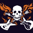 Skull with crossed flaming guitars — Stock Vector #22733711