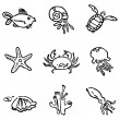 Sea fauna child illustration icon set — Stock Vector