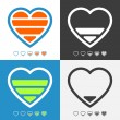 Electronic heart with charge meter. Colorful vector icon set — Vektorgrafik