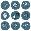 Cosmonaut and space objects icon set. Vector image set, 3 colors. — Stock Vector