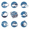 Transportation illustrations set. Vector graphics. 3 colors. — Imagens vectoriais em stock
