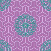 Hibiscus Samurai Seamless Background Pattern — Stock Vector