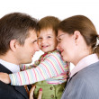 Family of three in office — Stock Photo