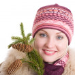 Stock Photo: Girl with branch of fur tree girl with branch of fur tree
