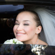 In the wedding car — 图库照片
