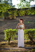 Bride in the evening — Stock Photo