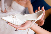 Bride wait a shoe — Stock Photo