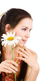 Girl with chamomile — Stock Photo