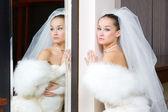 Bride in the mirror — Stock Photo