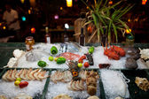Seafood at a restaurant — Stock Photo