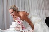 Bride and a wedding cake — Foto de Stock