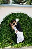 Fun of bride and groom — Stock Photo