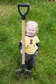 Child with the shovel — Stock Photo