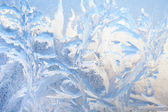 Background of painting on the frozen window by frost - nobody — Stock Photo