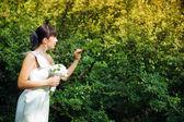 Bride near the bush — Stock Photo