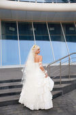 Bride on the staircase — Stock Photo