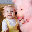 Small girl and toy bear — Stock Photo #21735071